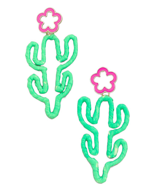 cactus raffia straw wrapped drop earrings with white background