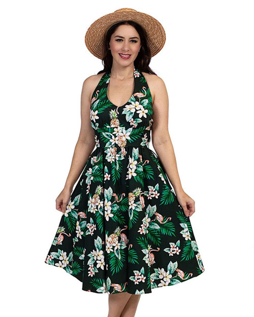 retrolicious tropical flamingo halter dress