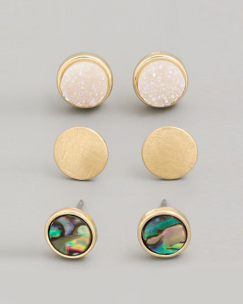 abalone shell, gold disc and crystal three piece stud earring set