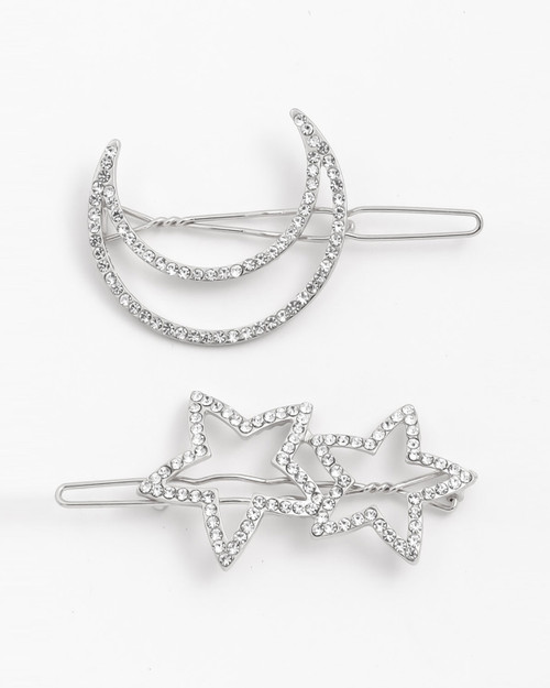 moon and star rhinestone two piece hair pin set in silver