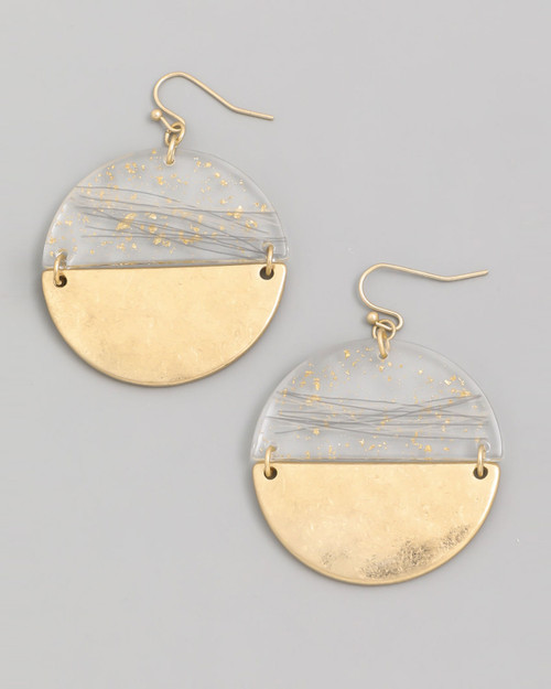 lucite with gold fleck and disc bottom circle dangle earrings