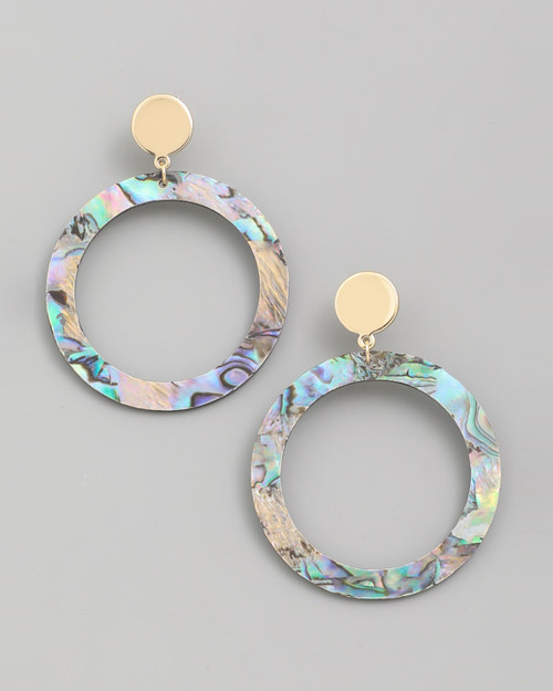 Abalone shell circle drop earrings