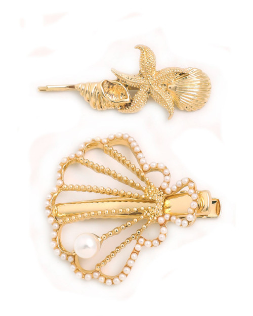 seashell and pearl two piece hair pin set