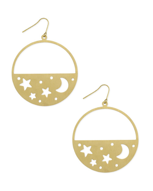 Planet star moon cut out circle dangle earrings