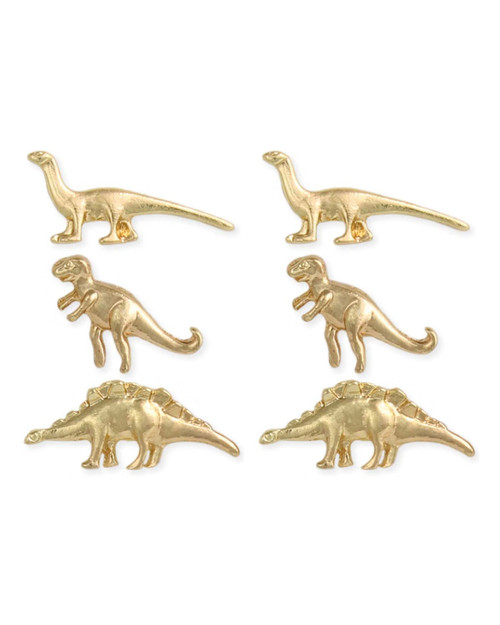 Cute Dinosaur 3 piece small stud earring set in gold