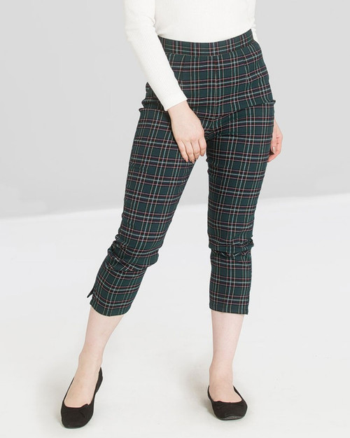 Hell Bunny Peebles Plaid Hunter Green High Waist Crop Trousers