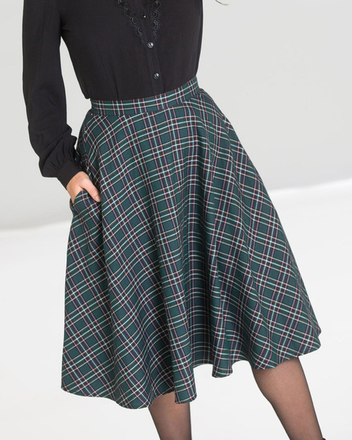 Hell Bunny peebles plaid swing skirt in hunter green