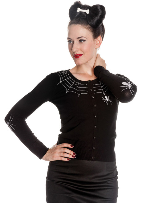 Hell Bunny Spider Web Cardigan Black - Front