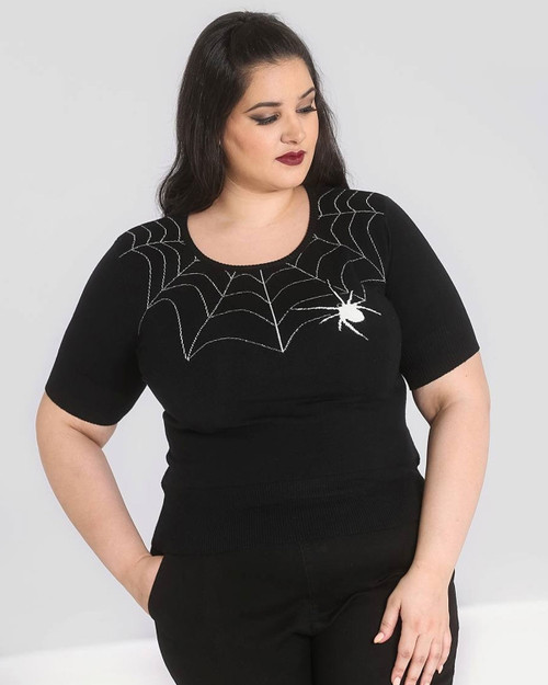 hell bunny plus size black widow sweater front