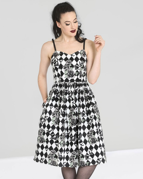 Hell bunny hauntley diamond bat print swing dress front