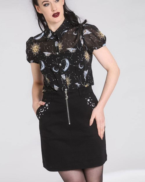 hell bunny interstellar embroidered mini skirt front