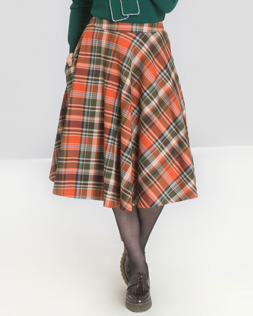 hell bunny oktober halloween plaid swing skirt - close up