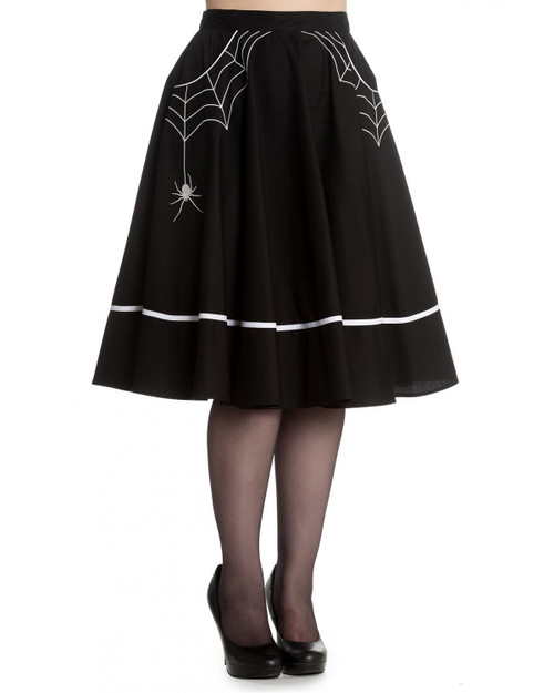 Hell Bunny Miss Muffet Spider Web Swing Skirt - Black