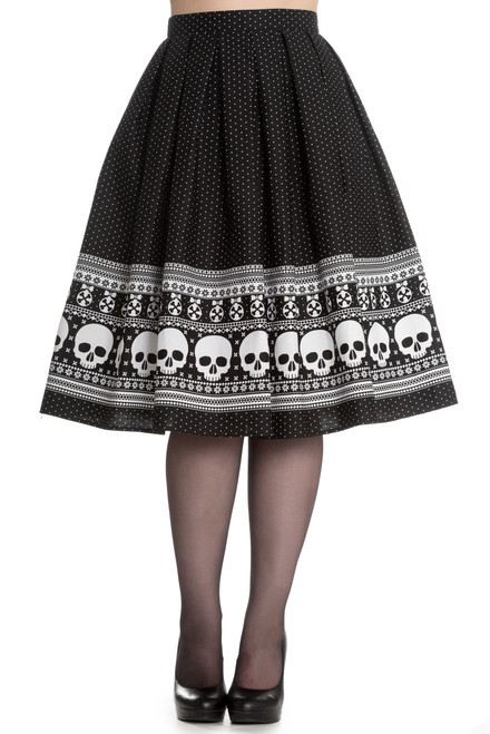 hell bunny clara skull and polka dot swing skirt front