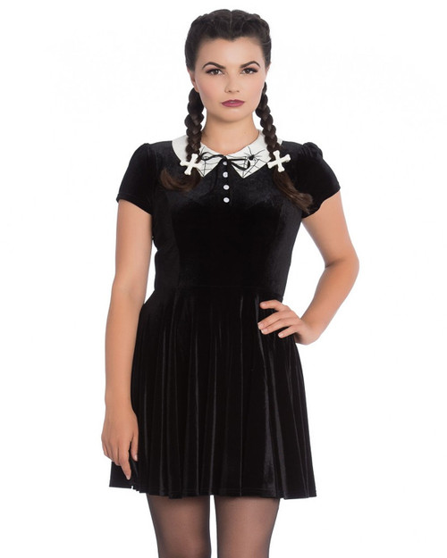 hell bunny miss muffet velvet mini dress front