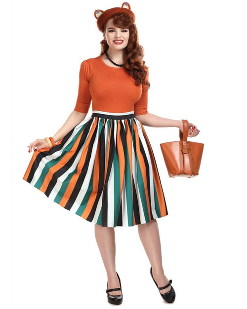 Collectif jasmine pumpkin skirt front full
