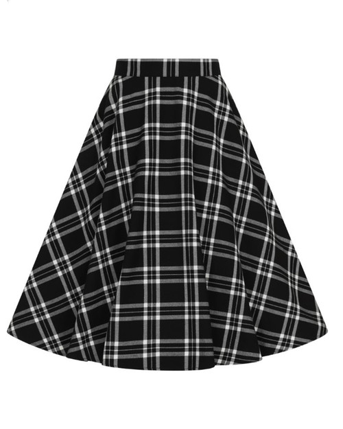 Hell Bunny Islay Plaid Skirt Black and White Front