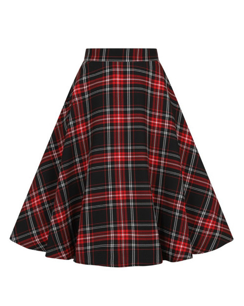 Hell  Bunny Islay Plaid Skirt Red and Black Front