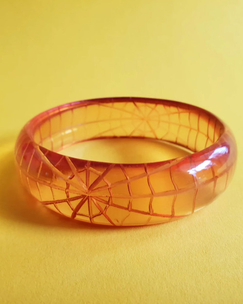 Bow & Crossbones Corday Spider Web Thin Bangle - Orange