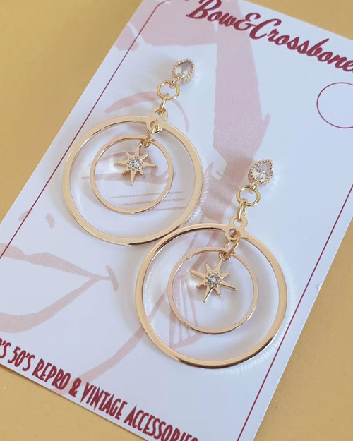 bow & crossbones luna star hoop drop earrings
