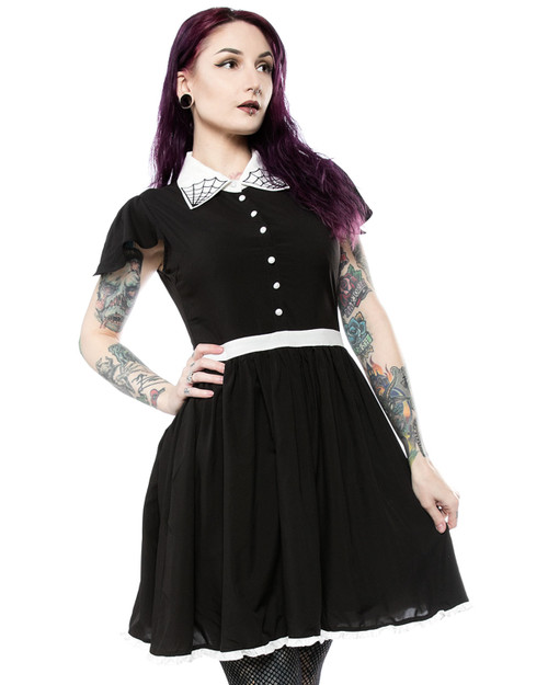 Sourpuss Lydia Spiderweb Pointed Collar A-Line Dress front