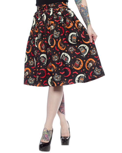 Sourpuss Over The Moon Black Cat High Waist Swing Skirt