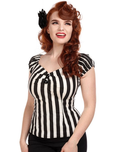 Collectif Dolores Striped Blouse - front