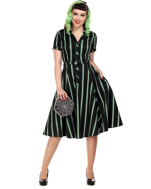 Collectif Caterina Witch Stripes Belted Swing Dress