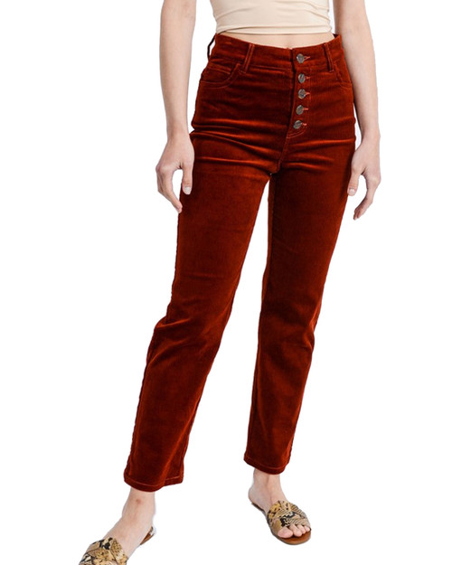Corduroy High Waist Button Front Cropped Pant - Front