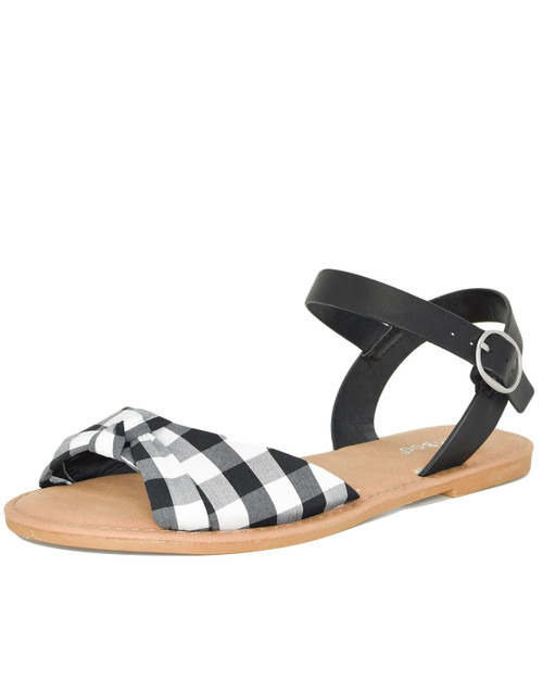 Bamboo Coastline-98 Gingham bow knot sandals front angle