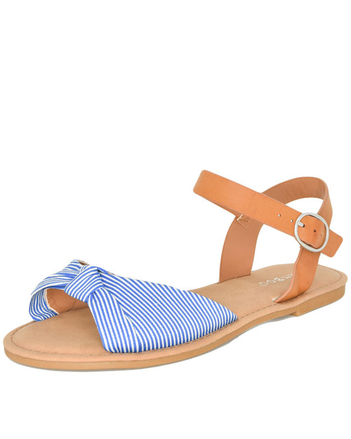Bamboo Coastline-98 Stripe bow knot sandals front angle