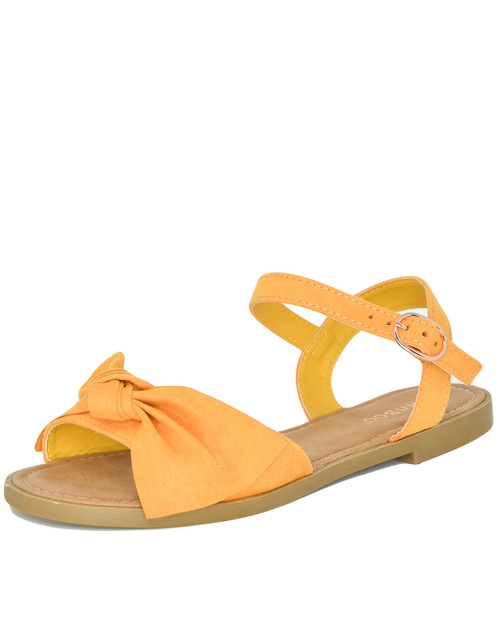 Bamboo Hippie-84 bow front sandal - mustard - front angle