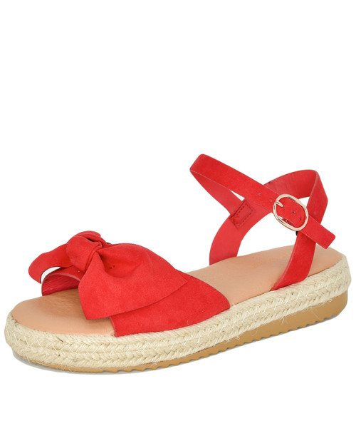 Bamboo Superb-10 bow front espadrille platform sandals - red