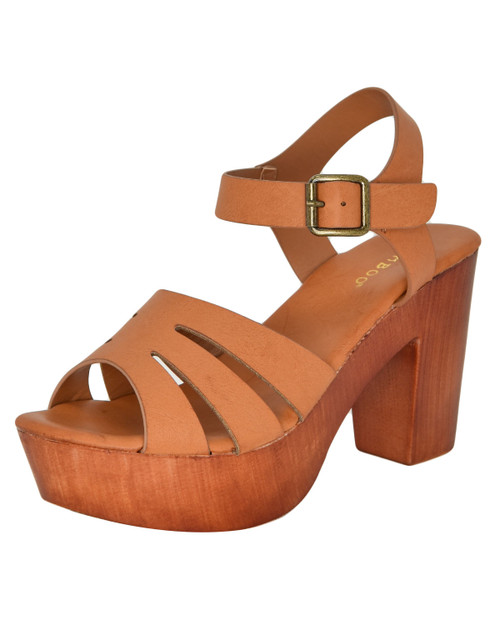 Bamboo LAIN-39 whisker strap wooden heels - tan
