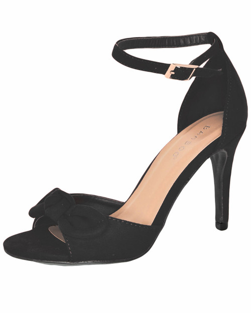 Bamboo Manners-11 faux suede bow high heels - black front
