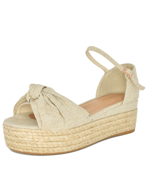 Bamboo Infinity 32 Bow Front Espadrille Platform Sandals natural front