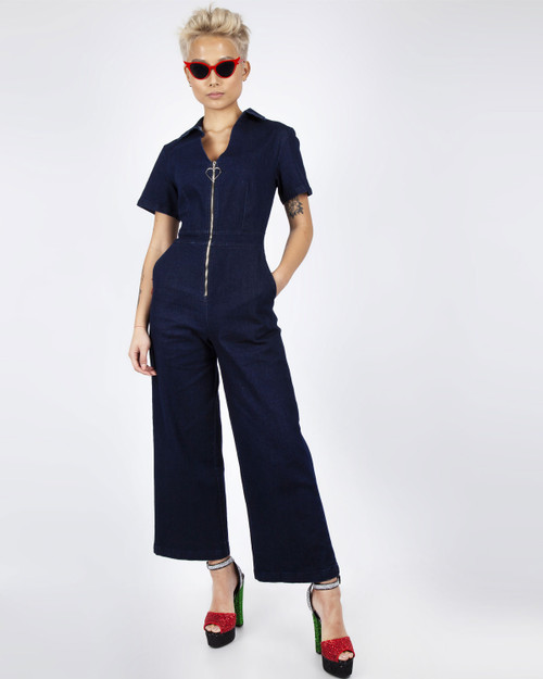 Jawbreaker Lazy Hearts Cropped Denim Jumpsuit front