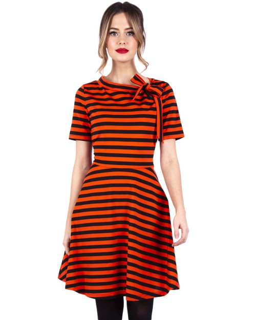 Voodoo Vixen Halloween Stripe Neck Tie Knit A-Line Dress