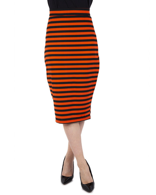 Voodoo Vixen orange and black stripe knit pencil skirt