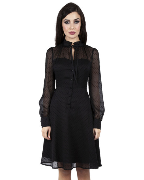 Voodoo Vixen x Acid Doll Swiss Dot Mesh Long Sleeve Dress