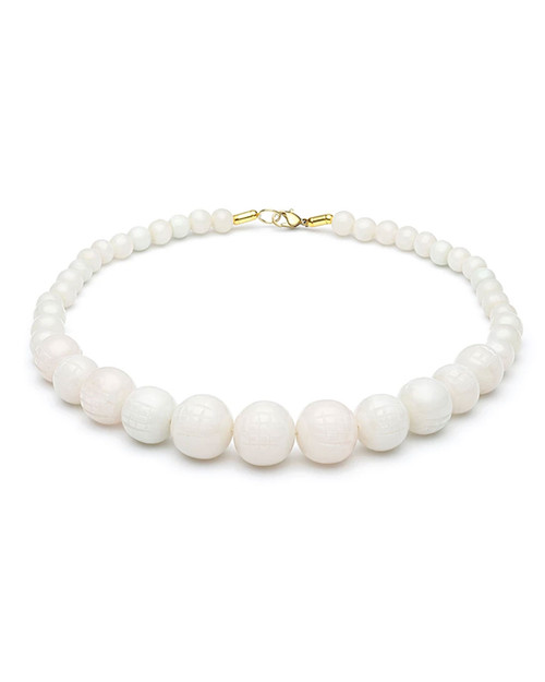 Splendette Retro Cloud Carved Fakelite Bead Necklace
