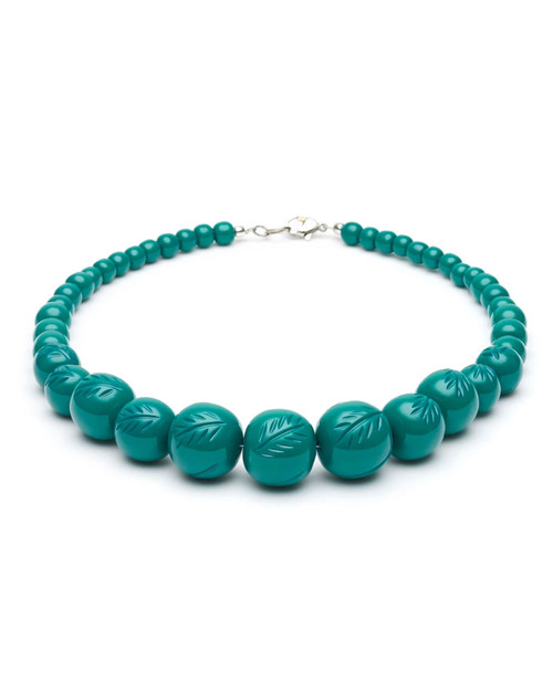 Splendette Retro Jade Heavy Carve Fakelite Bead Necklace
