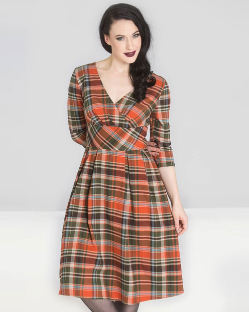 Hell Bunny Oktober Plaid 3/4 Sleeve A-Line Dress close up
