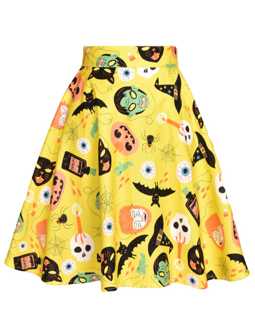 Retrolicious Halloween Masks Print Skater Skirt