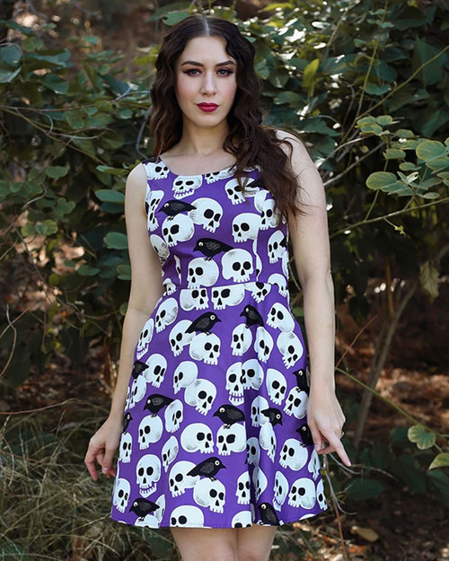 Retrolicious Skull & Birds Print Sleeveless A-Line Dress
