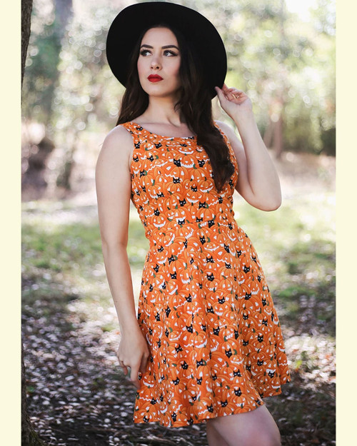 Retrolicious Pumpkin & Cats Glow In The Dark Print Sleeveless A-Line Dress