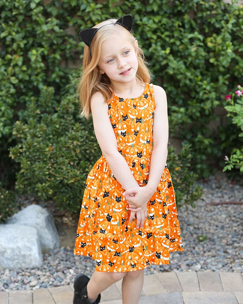 Retrolicious Kids Pumpkin & Cats Glow In The Dark Print Sleeveless A-Line Dress