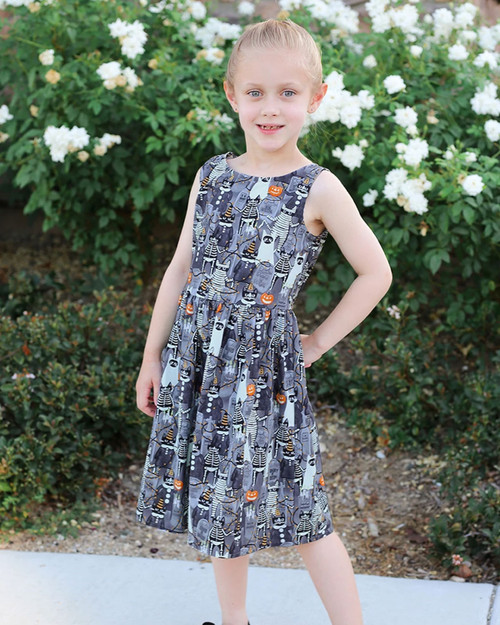Retrolicious Kids Boo Cats Glow In The Dark Print Sleeveless A-Line Dress