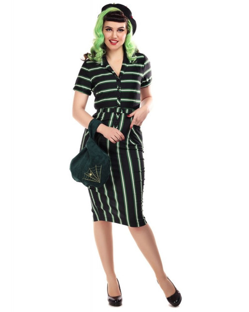 Collectif Caterina Witch Stripes Belted Pencil Dress
