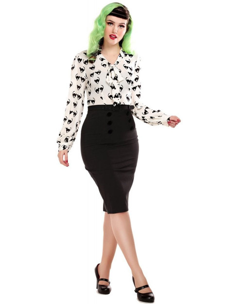 Collectif Agatha 6 Buton High Waist Belted Pencil Skirt